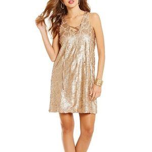 NWT Gianni Bini Gold Sequin Lance Dress Medium